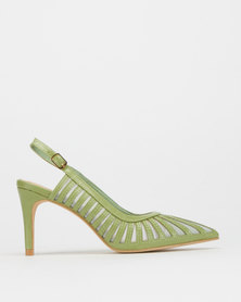 Utopia Beauty Cage Slingback Heels Avo Green