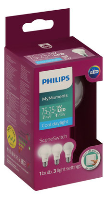 PHILIPS 7.5-70W 27mm Edison Screw Scene Switch LED - Cool Daylight - Pack of 8