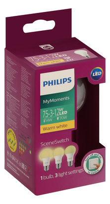PHILIPS 7.5-70W 27mm Edison Screw Scene Switch LED  - Warm White - Pack of 8