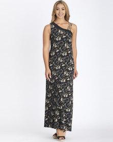 Contempo Off Shoulder Print Maxi Dress Black