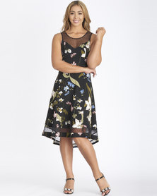Contempo Black Printed Flare Dress With Mesh