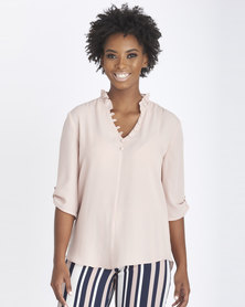 Contempo Covered Button Fashion Top Pink