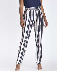 Contempo Stripe Pull On Pants With Sash Pink