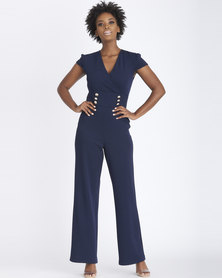 Contempo Waist Inset Button Jumpsuit Navy