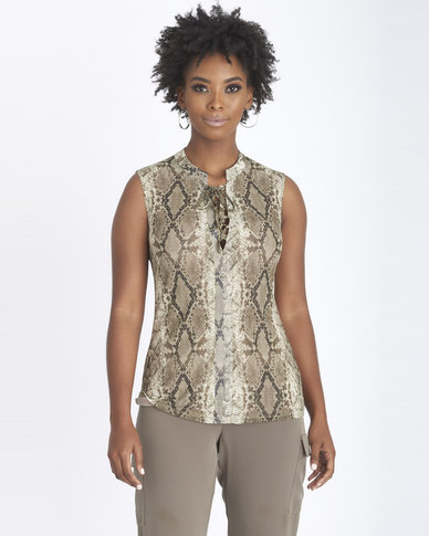 Contempo Multi Printed Fashion Mesh Top Khaki
