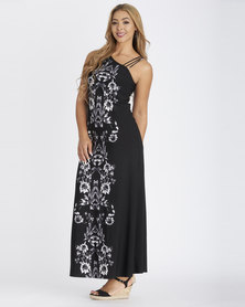 Contempo Multi Off Shoulder Maxi Dress Black