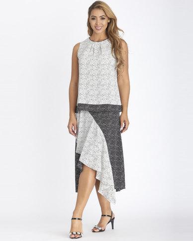 Contempo Combo Print Layered Skirt Black/White