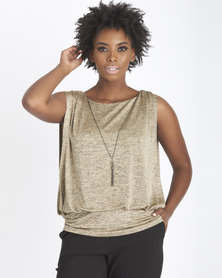 Contempo Shimmer Knit Top Beige