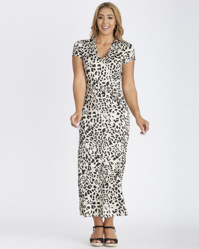 Contempo Cap Sleeve Mock Wrap Maxi Dress Stone
