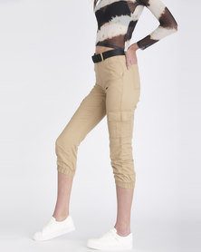 Contempo Generation Cargo Joggers With Belt Stone