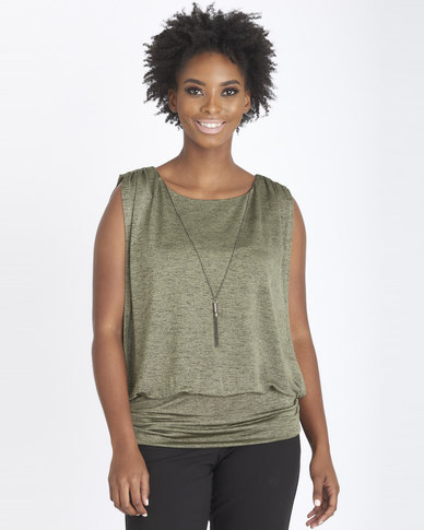Contempo Shimmer Knit Top Sage