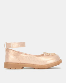 Bubblegummers Girls Closed With Back Strap Shoes Rose Gold