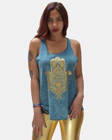 SKA Gold Hamsa Print Stonewashed Vest Teal