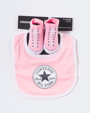 Converse Bib And Bootie Set Pink