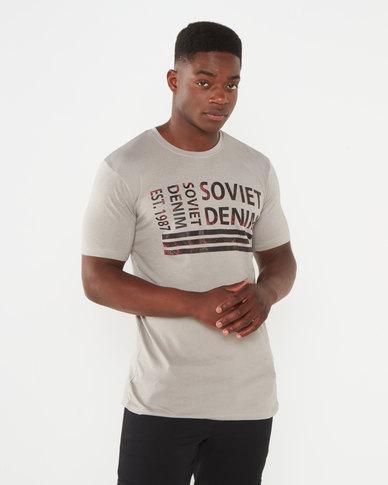 Soviet Hastings Printed Slim Fit T-shirt Putty
