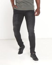 Soviet Burgoz #4 Skinny Denim Jeans Black