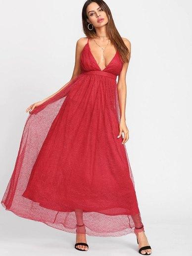 Elite Occasions Formal Plunge Front Mesh Dress