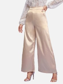 Elite Occasions Wide Leg High Waist Satin Pants