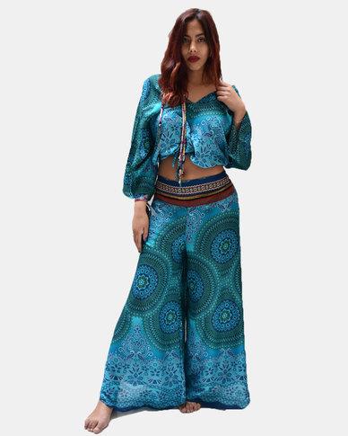 SKA Mandala Print Ghari Band Flare Pants Turquoise