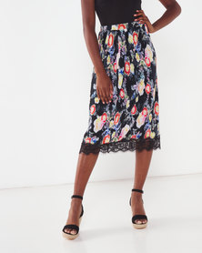 Paige Smith Print Pleat Skirt Black