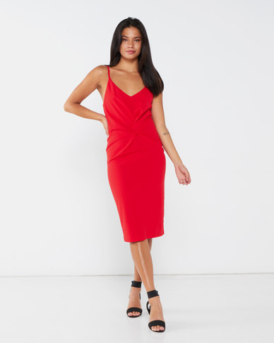 Paige Smith Crepe Knot Dress Red