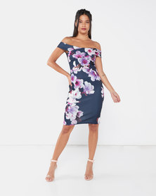 QUIZ Marcella Floral Print Bardot Midi Dress Navy/Purple