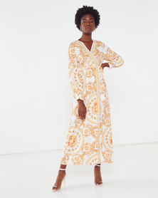 QUIZ Scarf Print Long Sleeve Wrap Maxi Dress Gold/Cream