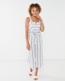 QUIZ Stripe Culotte Jumpsuit White and Navy