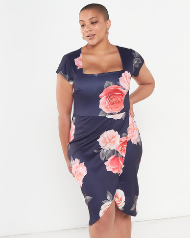 QUIZ Curve Floral Print Square Neck Midi Dress Navy and Pink