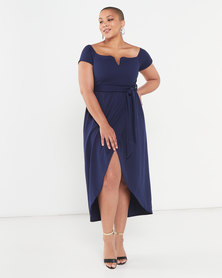 QUIZ Curve Bardot V Bar Wrap Dress Navy