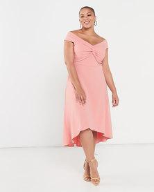 QUIZ Curve Knot Front Bardot Dip Hem Dress Coral