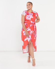 QUIZ Curve Floral Print Wrap Dress Red