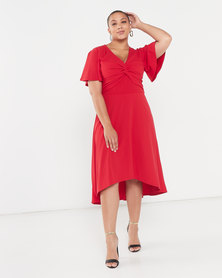QUIZ Curve Knot Front Dip Hem Midi Dress Red