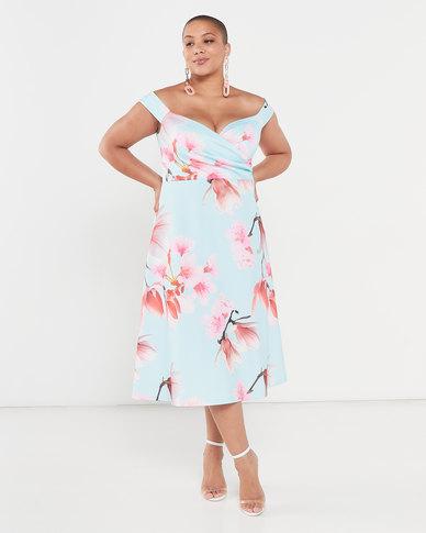 QUIZ Curve Floral Wrap Skater Dress Pale Blue And Pink