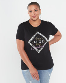 QUIZ Curve Paris Luxe T-Shirt Black
