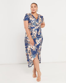 QUIZ Curve Floral Dress Navy, Gold and Cream