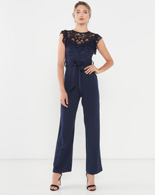 QUIZ Scuba Crepe Lace Frill Sleeve Palazzo Jumpsuit Navy