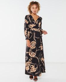 QUIZ Woven Scarf Printed Kimono Dress Black/Rose Gold