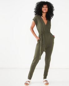 QUIZ Cotton Wrap Front Jumpsuit Khaki