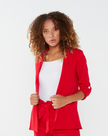 QUIZ Scuba Crepe Gold Button Detail Jacket Red