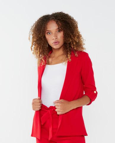 QUIZ Scuba Crepe Gold Button Detail Jacket Red