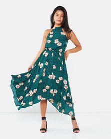 AX Paris Leopard Print High Neck Dress Green