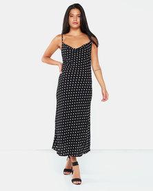 AX Paris Cowl Neck Polka Dot Dress Black