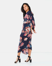 AX Paris Floral Kimono Sleeve Dress Navy