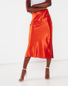 AX Paris Satin Midi Skirt Orange
