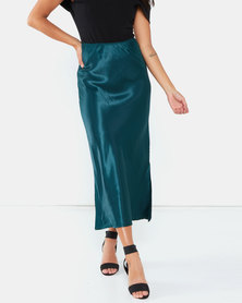 AX Paris Satin Midi Skirt Green
