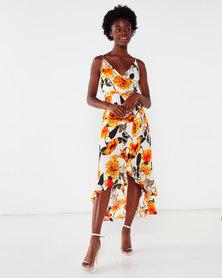 AX Paris Floral Strappy Midi Dress Orange