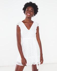 London Hub Fashion Geometric Lace V Neck Frill Detail Mini Dress White