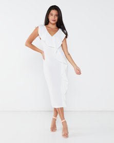 London Hub Fashion Frill Detail V Neck Sleeveless Bodycon Midi Dress White