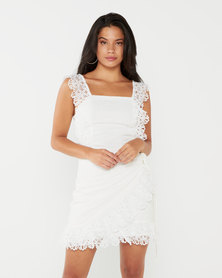 London Hub Fashion White Lace Trim Tie Waist Sleeveless Mini Dress